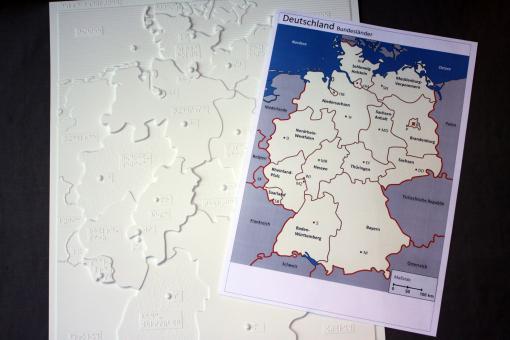 Taktile thematische Karte – Bundesländer Deutschlands