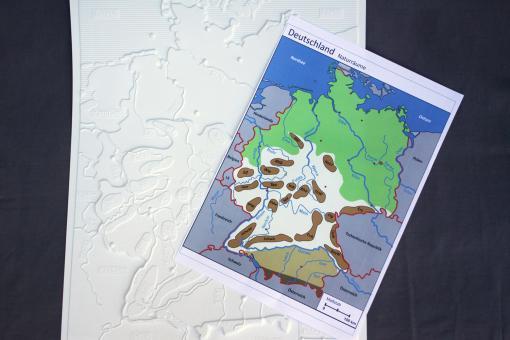 Taktile thematische Karte – Naturräume Deutschlands